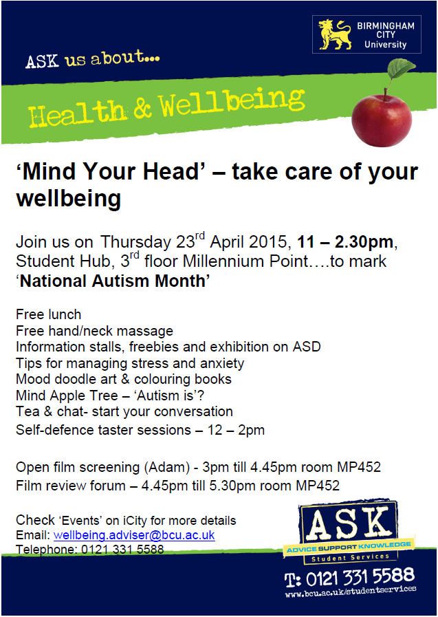 Picture of the mind your head poster for BCU mental health awareness and wellbeing event to take place on April 23rd 2015