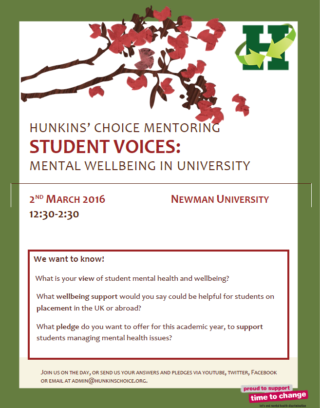 Poster of Newman University Student Voices seminar event 2016